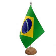BRAZIL - TABLE FLAG WITH WOODEN BASE